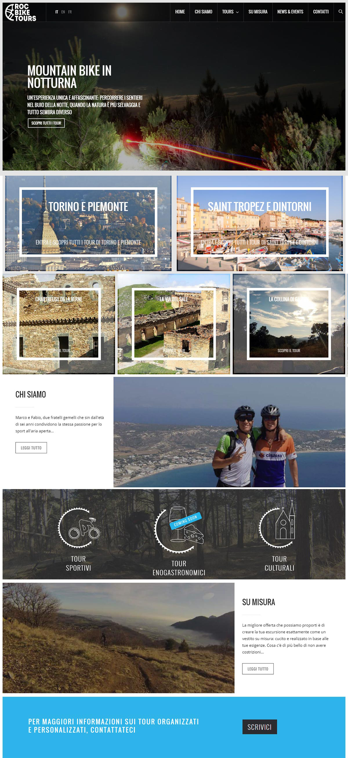 Screenshot home page sito web Roc Bike Tours