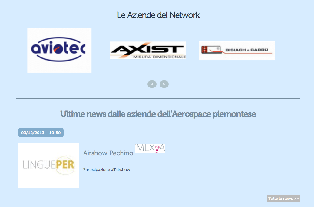 Le aziende in homepage