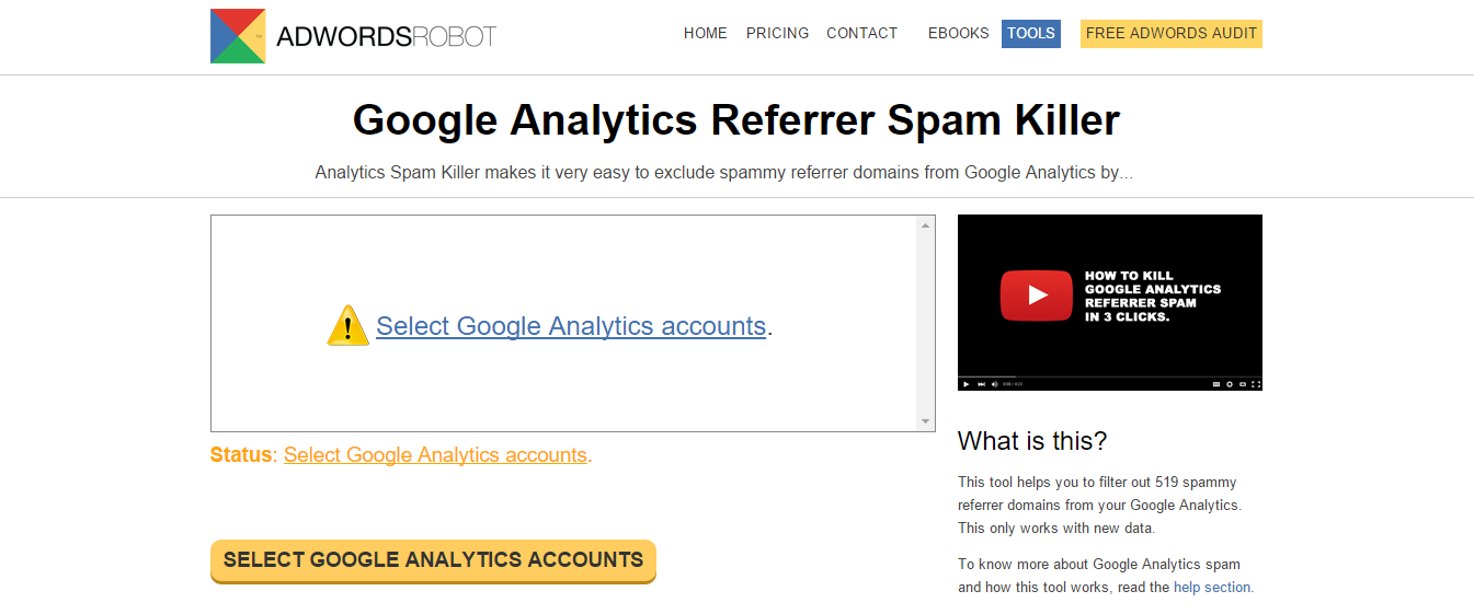 Home page del tool Google Analytics Referral Spam Killer