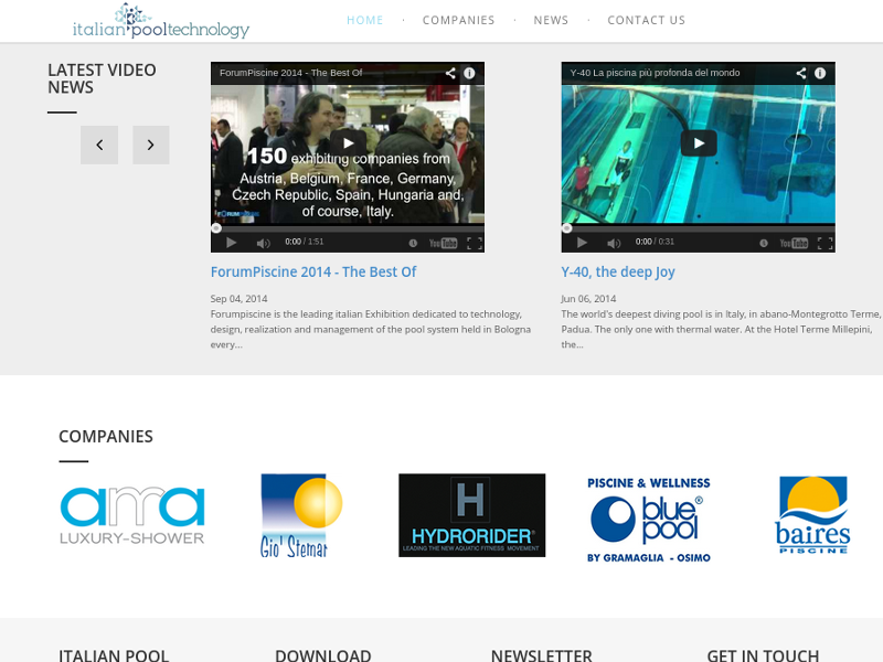 Italian pool technology, ultimi video in home page